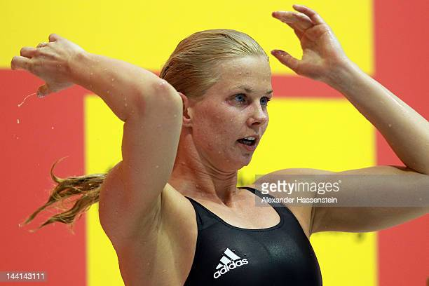 Britta Steffen looks on during the German Swimming Championships 2012 at the Eurosportpark on May 10 2012 in Berlin Germany