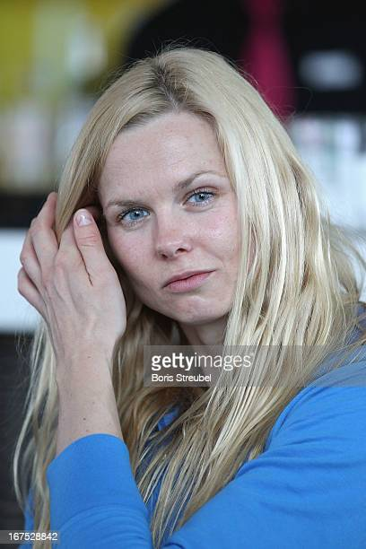 Britta Steffen of Germany attends a press conference on day one of the German Swimming Championship 2013 at the Eurosportpark on April 26 2013 in...