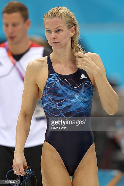 Britta Steffen of Germany looks on during a training session ahead of the London Olympic Games at the Aquatics Centre in Olympic Park on July 25 2012...