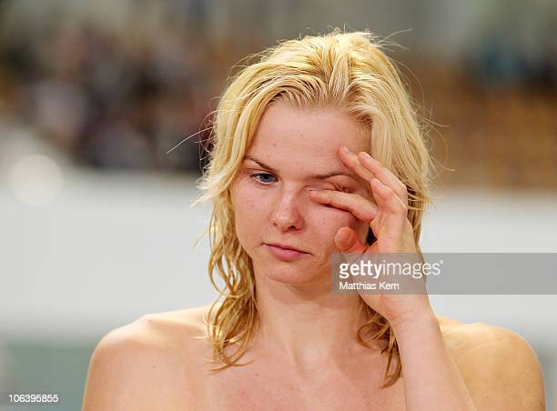Britta Steffen of Germany shows her frustration after the women's 100m freestyle final during day two of the FINA/ARENA Swimming World Cup on October...