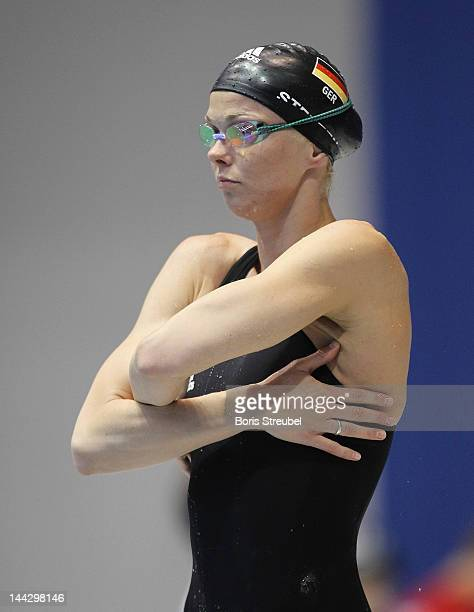 Britta Steffen of SG Neukoelln prepares for the women's 50m freestyle heat during day four of the German Swimming Championship 2012 at Eurosportpark...