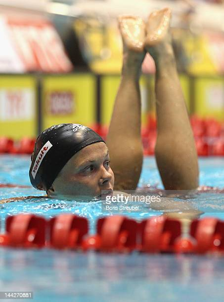 Britta Steffen of SG Neukoelln reacts after the women's 50m freestyle heat during day four of the German Swimming Championship 2012 at Eurosportpark...