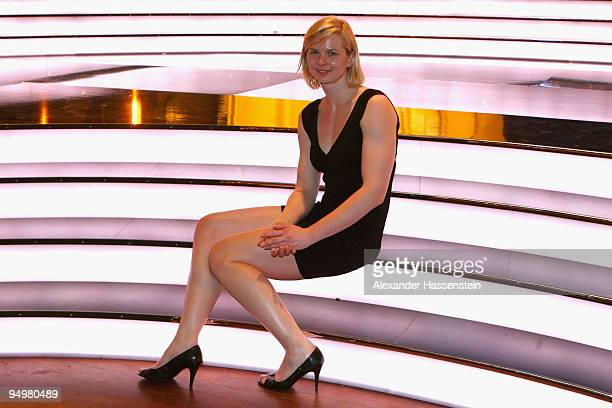 Britta Steffen winner the 2nd place female 'Athlete of the Year' award poses after the 'Athlete of the Year' gala at the Kurhaus BadenBaden on...