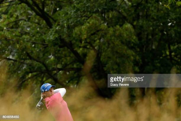 Brittany Altomare hits her tee shot on the fifth hole during the second round of the 2017 KPMG PGA Championship at Olympia Fields on June 30 2017 in...