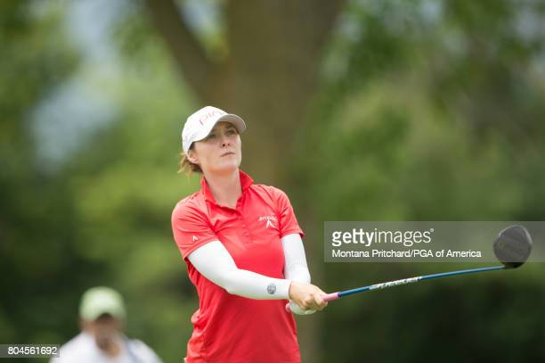 Brittany Altomare of the United States hits her tee shot on the second hole during Round Two for the 2017 KPMG Women's PGA Championship held at...