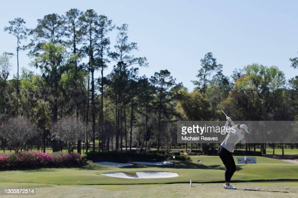 Brittany Altomare of the United States plays her shot from the 11th tee during the final round of the LPGA Drive On Championship at Golden Ocala Golf...