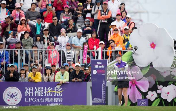 Brittany Altomare of the United States tees off on the first hole during day four of Swinging Skirts LPGA Taiwan Championship on October 22 2017 in...