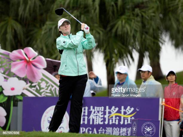 Brittany Altomare of the US tees off on the first hole during day one of Swinging Skirts LPGA Taiwan Championship on October 19 2017 in Taipei Taiwan
