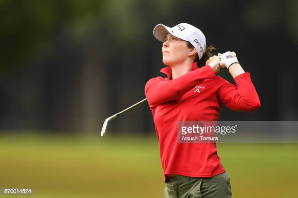 Brittany Altomare of the USA hits her third shot on the 9th hole during the second round of the TOTO Japan Classics 2017 at the Taiheiyo Club Minori...
