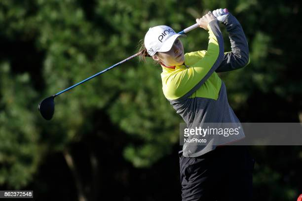 Brittany Altomare of USA action on the 2th tee during an KEB HANA BANK LPGA Championship day 2 at Sky72 Ocean Golf range in Incheon South Korea