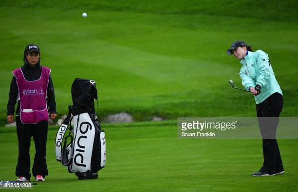 Brittany Altomare of USA plays a chip shot during the play off after the final round of The Evian Championship at Evian Resort Golf Club on September...