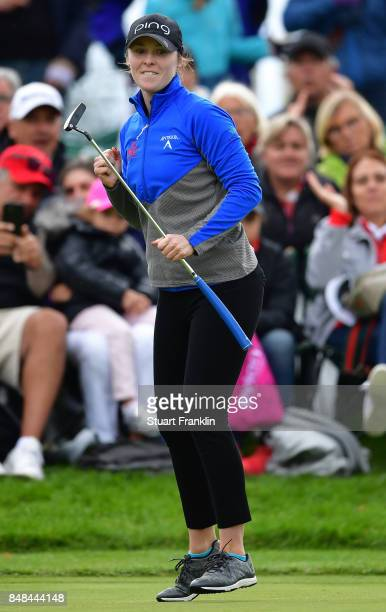 Brittany Altomare of USA reacts to a putt during the play off after the final round of The Evian Championship at Evian Resort Golf Club on September...