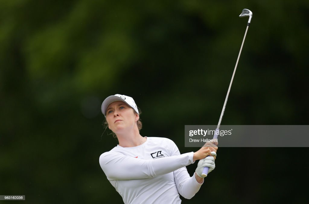 Brittany Altomare plays her tee shot on the third hole during the final round of the Walmart NW Arkansas Championship Presented by P&G at Pinnacle Country Club on June 24, 2018 in Rogers, Arkansas.