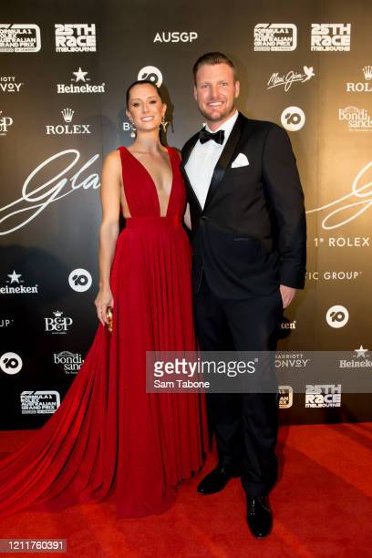 Brittany and Sam Groth attends the Glamour On The Grid party on March 11 2020 in Melbourne Australia