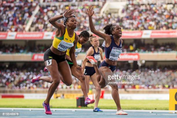 Brittany Anderson of Jamaica finishes first in the girls 100m hurdles during day 5 of the IAAF U18 World Championships at Moi International Sports...
