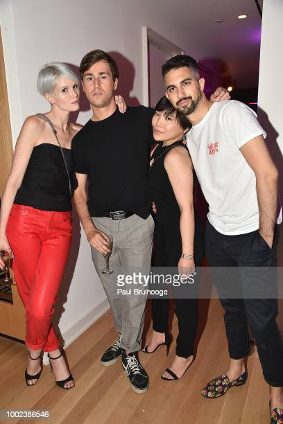 Brittany Barnato Robbie Cantonwine Yiyin Ma and James Rossini attend Brian Feit's 40th Birthday Party at 550 West 29th Street on July 19 2018 in New...