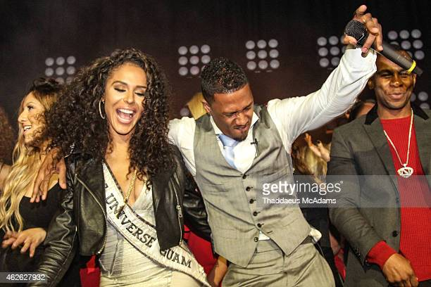 Brittany Bell and Nick Cannon at The Maxim Superbowl party on January 31 2015 in Scottsdale Arizona
