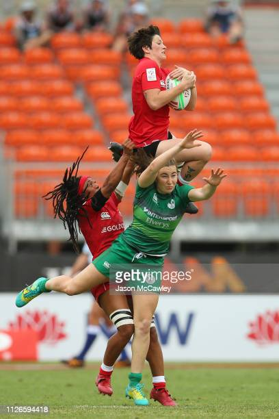 Brittany Benn of Canada in the Pool Match played between Canada and Ireland during the 2019 Sydney HSBC Sevens at Spotless Stadium on February 01,...