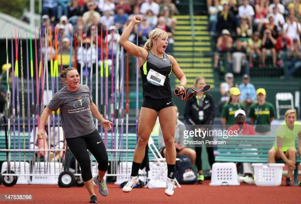 Brittany Borman celebrates, alongside Dana Pounds-Lyon, after her winning throw in the Women's Javelin Throw Final on day ten of the U.S. Olympic...