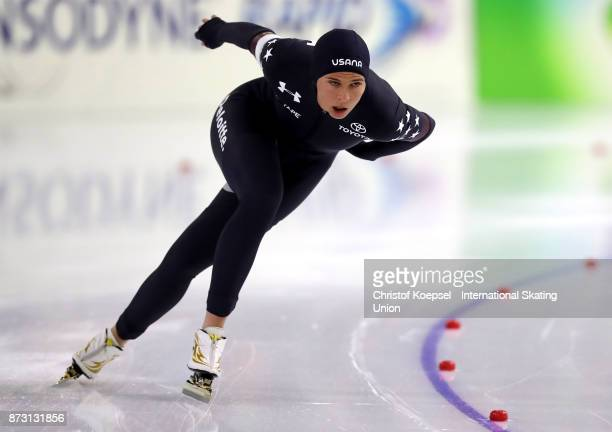 Brittany Bote of United States competes during the ladies 1500m Division A race on Day Two during the ISU World Cup Speed Skating at the Thialf on...