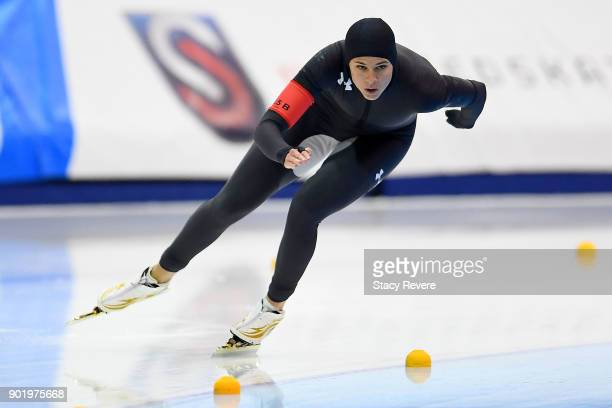 Brittany Bowe competes in the Ladies 1500 meter event during the Long Track Speed Skating Olympic Trials at the Pettit National Ice Center on January...