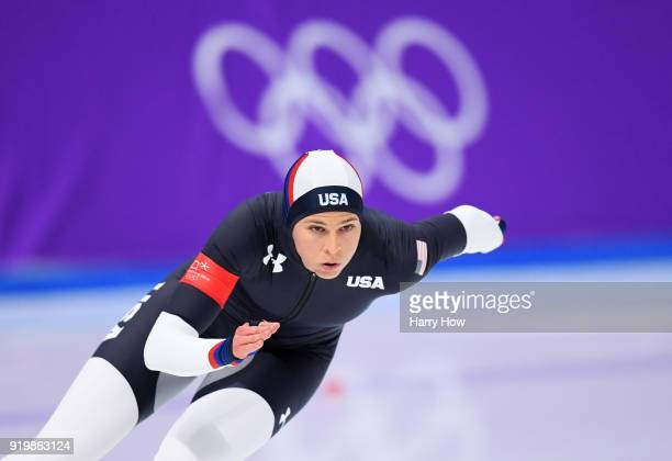 Brittany Bowe of the United States competes during the Ladies' 500m Individual Speed Skating Final on day nine of the PyeongChang 2018 Winter Olympic...