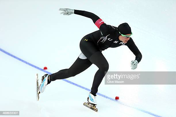 Brittany Bowe of the United States competes during the Women's 500m Race 2 of 2 Speed Skating event during day 4 of the Sochi 2014 Winter Olympics at...