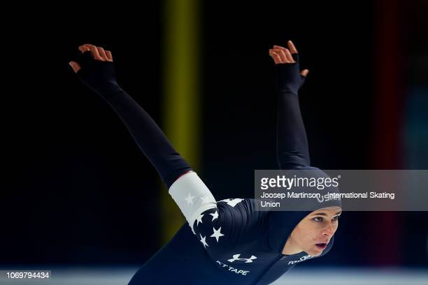Brittany Bowe of the United States prepares in the Ladies 500m 2nd Race during ISU World Cup Speed Skating at Tomaszow Mazoviecki Ice Arena on...