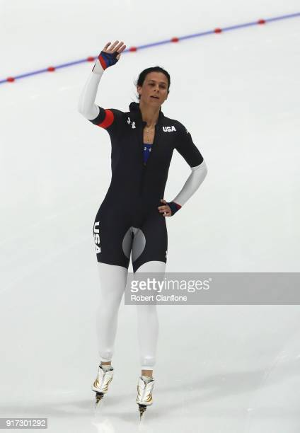 Brittany Bowe of The United States reacts after competing during the Ladies 1500m Long Track Speed Skating final on day three of the PyeongChang 2018...