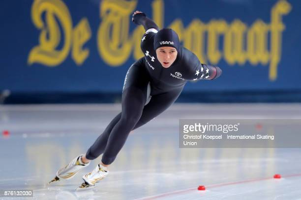 Brittany Bowe of United States competes in the ladies 1500m Division A race of Day 2 during the ISU World Cup Speed Skating at Soermarka Arena on...