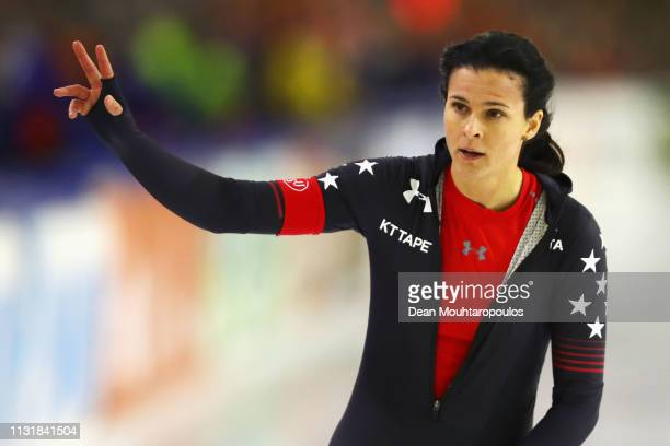 Brittany Bowe of USA waves to the fans after she competes in the Women's 1000m Sprint during day 2 of the ISU World Sprint Speed Skating...