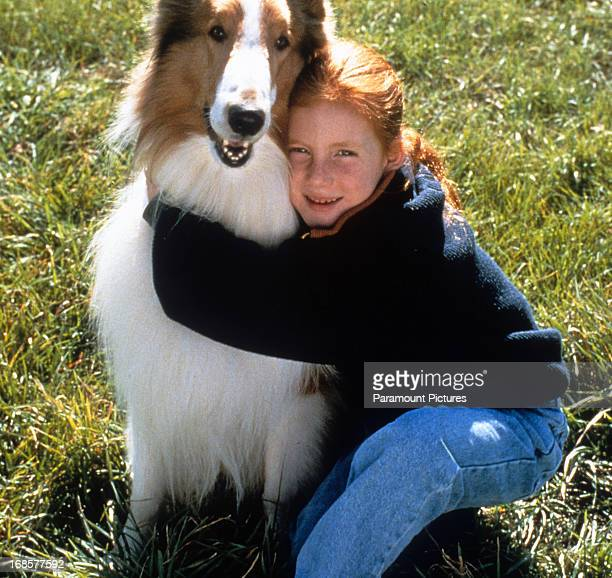 Brittany Boyd holds Lassie in a scene from the film 'Lassie' 1994