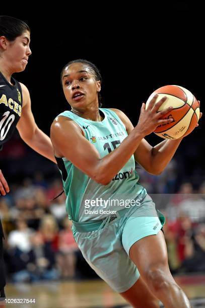 Brittany Boyd of the New York Liberty handles the ball against the Las Vegas Aces on August 15 2018 at the Allstate Arena in Chicago Illinois NOTE TO...