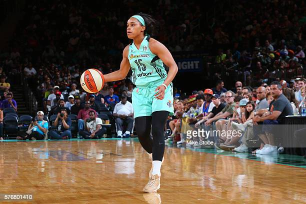 Brittany Boyd of the New York Liberty handles the ball against the Connecticut Sun on July 17 2016 at Madison Square Garden in New York City New York...