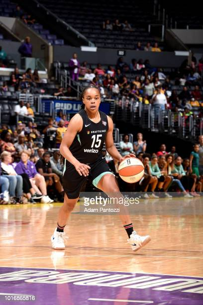 Brittany Boyd of the New York Liberty handles the ball during the game against the Los Angeles Sparks on August 14 2018 at Staples Center in Los...
