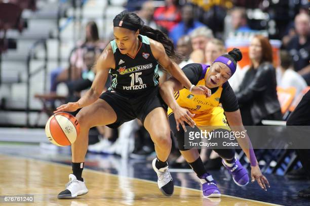 Brittany Boyd of the New York Liberty is challenged by Odyssey Sims of the Los Angeles Sparks during the Los Angeles Sparks Vs New York Liberty WNBA...