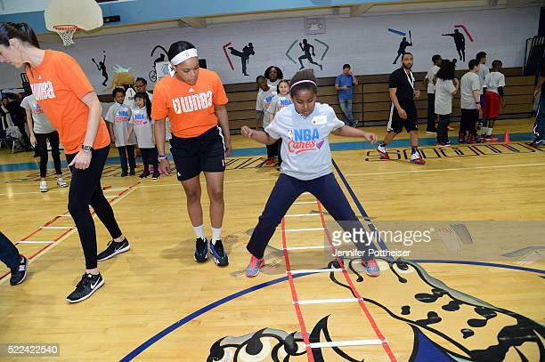 Brittany Boyd of the New York Liberty participates in the 1000 Live Learn and Play Center dedication at Madison Square Boys Girls Club on April 18...