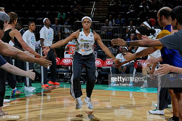 Brittany Boyd of the New York Liberty runs out before the game against the Washington Mystics on June 14 2015 at Madison Square Garden in New York...