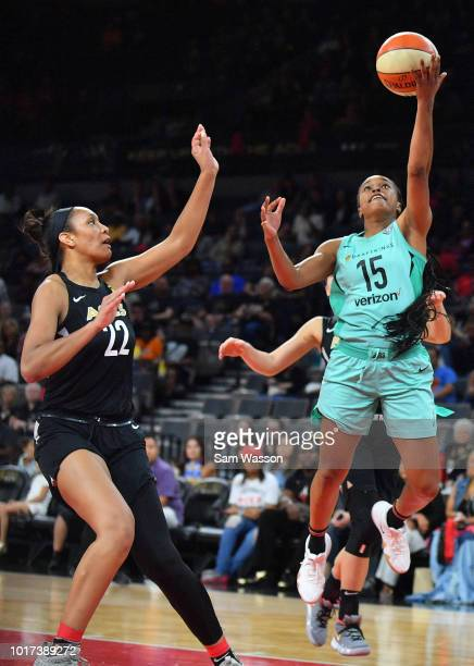 Brittany Boyd of the New York Liberty shoots a layup against A'ja Wilson of the Las Vegas Aces during their game at the Mandalay Bay Events Center on...