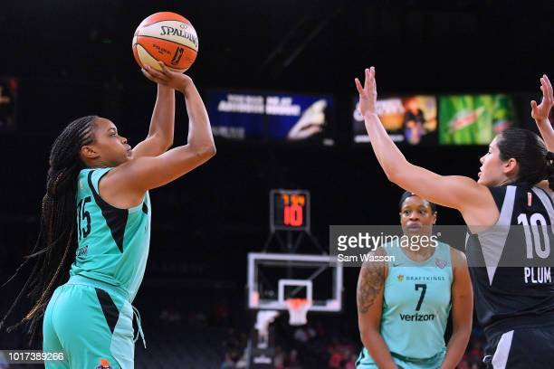 Brittany Boyd of the New York Liberty shoots against Kelsey Plum of the Las Vegas Aces during their game at the Mandalay Bay Events Center on August...