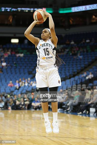 Brittany Boyd of the New York Liberty takes a shot against the Minnesota Lynx during the WNBA preseason game on June 1 2015 at Target Center in...