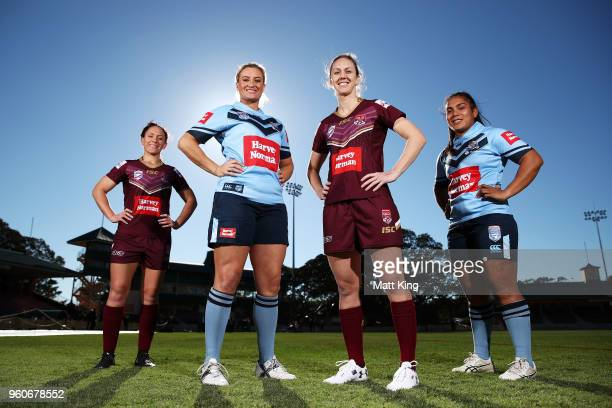 Brittany Breayley of Queensland Ruan Sims of NSW Karina Brown of Queensland and Simaima Taufa of NSW pose during a Women's State of Origin media...