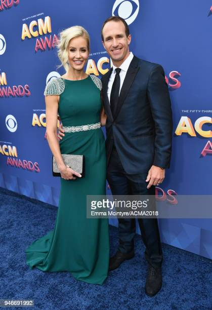 Brittany Brees and Drew Brees attend the 53rd Academy of Country Music Awards at MGM Grand Garden Arena on April 15 2018 in Las Vegas Nevada