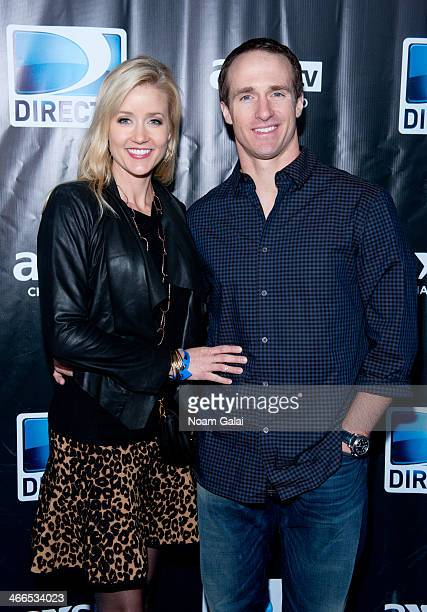 Brittany Brees and NFL player Drew Brees attend the DirecTV Super Saturday Night at Pier 40 on February 1, 2014 in New York City.