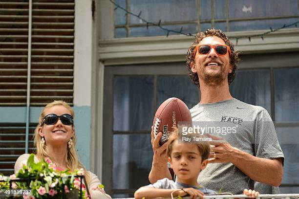Brittany Brees, Levi McConaughey, and actor Matthew McConaughey participate in a charity Amazing Race Scavenger Hunt at a New Orleans apartment on...