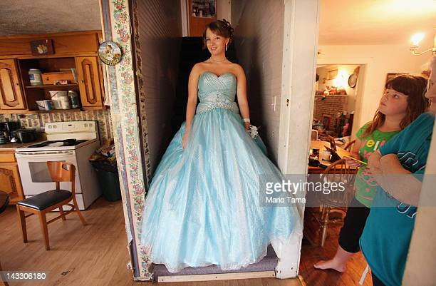 Brittany Brewer poses while preparing for the Owsley County High School prom in the home where she lives with her grandmother on April 21 2012 in...