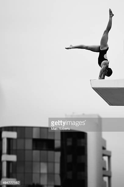 Brittany Broben of Australia competes in the Women's 10m Platform during the FINA Diving Grand Prix on October 29 2015 on the Gold Coast Australia