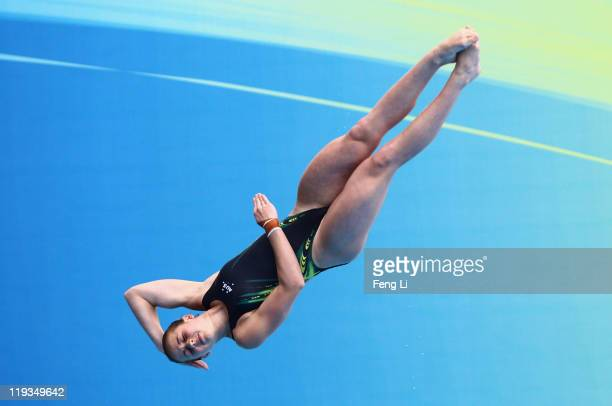 Brittany Broben of Australia competes in the Women's 1m Springboard Final during Day Four of the 14th FINA World Championships at the Oriental Sports...