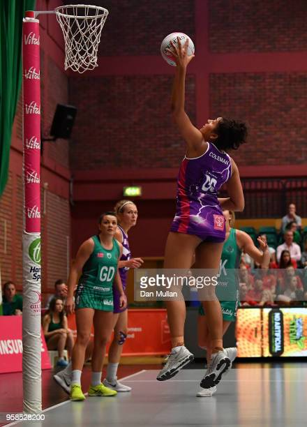 Brittany Coleman of Loughborough Lightning scores a goal during the Vitality Netball Superleague match between Celtic Dragons and Loughborough...