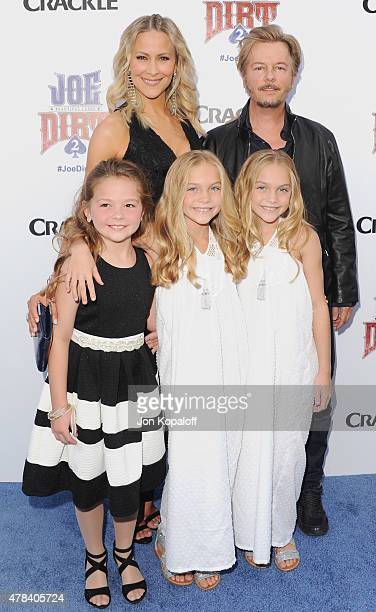 Brittany Daniel David Spade Lauren Gobuzzi Allison Gobuzzi and Chloe Guidry arrive at Crackle Hosts World Premiere Of Joe Dirt 2 Beautiful Loser at...